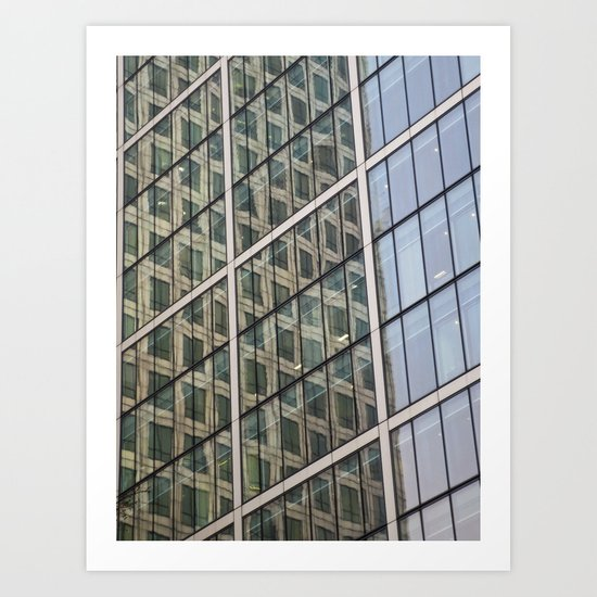 Canary Wharf Window Reflections Art Print