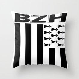 BZH Brittany / Bretagne Flag France Throw Pillow