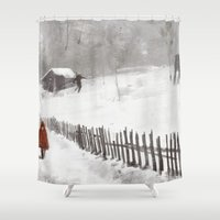bad wolf Shower Curtains featuring Big Bad Wolf by Mightymike