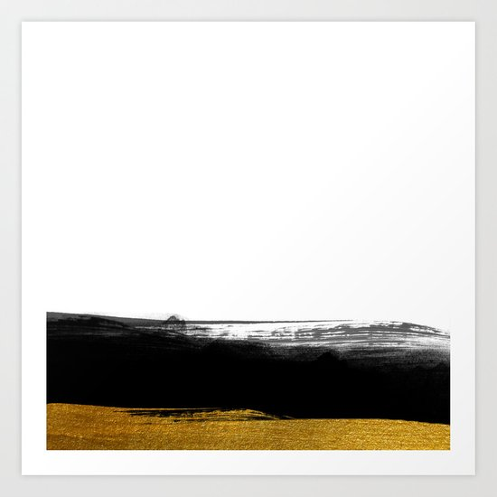 Black and Gold grunge stripes on clear white backround - Stripe- Striped Art Print