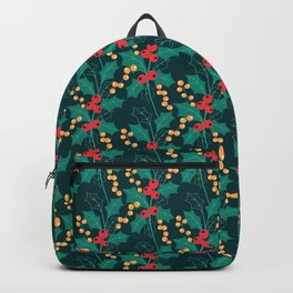 Happy Holly Berry Christmas green decor Backpack