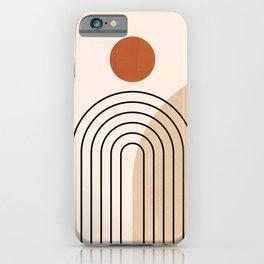 Abstraction_NEW_SUN_DAWN_MOUNTAINS_LINE_POP_ART_008B iPhone Case