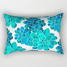 Turquoise succulents Rectangular Pillow