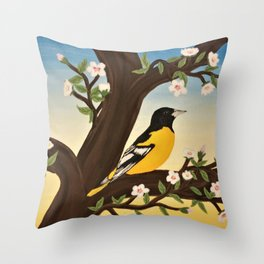 Oriole at Sunset Throw Pillow