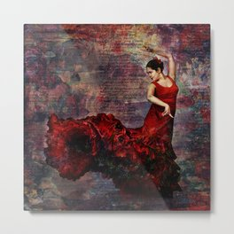 'Drama'. Vibrant Spanish dancer Metal Print