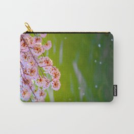 Beautiful Japanese Pink Cherry Blossom Over A colorful Green Garden Pond Petals Drifting Away Carry-All Pouch