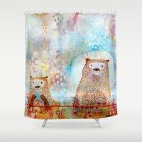 otter Shower Curtains featuring Otter Convention by Rookery Design