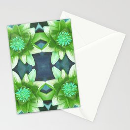 Teal Green Bromeliad Pattern Stationery Cards