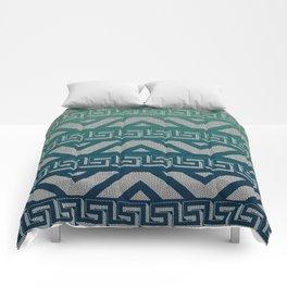 """Blue Aztec Urban Textured Pattern"" Comforters"