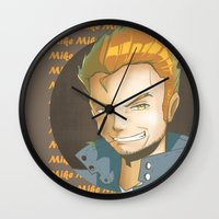 mike wrobel Wall Clocks featuring Mike  by EY Cartoons