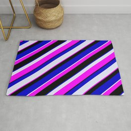 Fuchsia, Black, Blue, and Lavender Colored Pattern of Stripes Rug