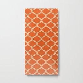 Ogee pattern Orange Burnt Metal Print