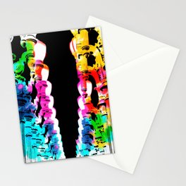 Urban light and LACMA, USA with colorful painting abstract in blue pink green red yellow Stationery Cards