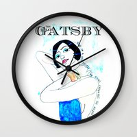 the great gatsby Wall Clocks featuring The Great Gatsby by Sreetama Ray