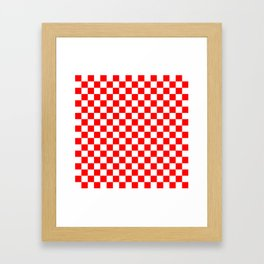 Jumbo Australian Racing Flag Red and White Checked Checkerboard Pattern Framed Art Print