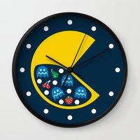 8 bit Wall Clocks featuring 8-Bit Breakfast by Byway