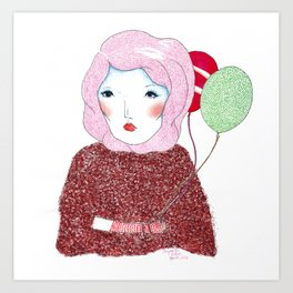 Lady with baloons Art Print