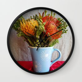Flowers in a vase - with Pincushion Protea Wall Clock