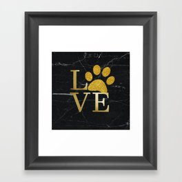 Love is a Four Letter Word - Black and Gold Framed Art Print