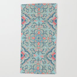 Gypsy Floral in Red & Blue Beach Towel