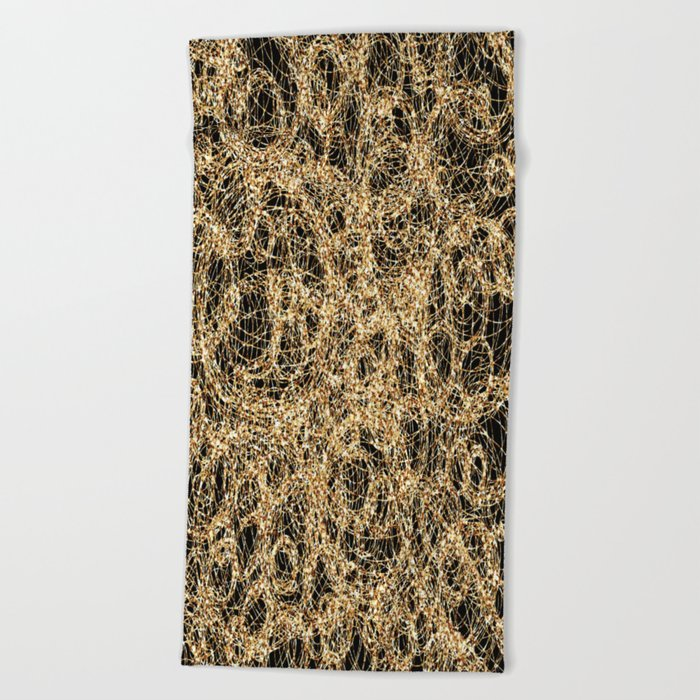 Gold Thread on Black | Abstract Brain Map 3 Beach Towel