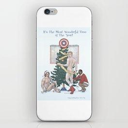 Team Cap Naughty Pinup Holiday Card iPhone Skin