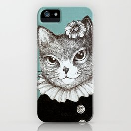 Blue Cat - Ink and acrylic cat art iPhone Case