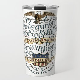 small government, larger freedom Travel Mug