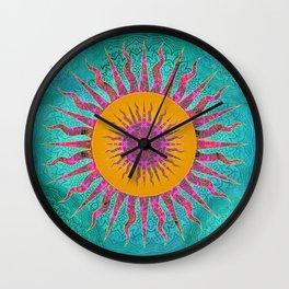 Magic Sun Mandala In Bold Colors Wall Clock