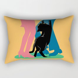 People and cat Rectangular Pillow