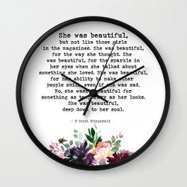 She Was Beautiful Floral Watercolor Art Print Inspiring Quote   F Scott Fitzgerald Wall Clock