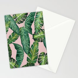 Jungle Leaves, Banana, Monstera II Pink #society6 Stationery Cards
