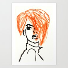 orange hair girl Art Print