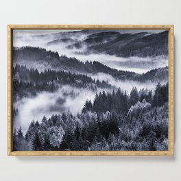Misty Forest Mountains Serving Tray