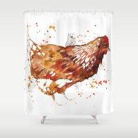 chicken Shower Curtains featuring Chicken by libby's art studio