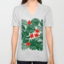 Tropical Leaves Hibiscus Flowers Unisex V-Neck