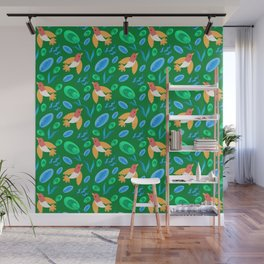 Pretty beautiful cute little birds and green blue delicate leaves green pattern. Gift ideas. Nursery Wall Mural
