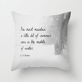 Thoreau Quote Winter Throw Pillow