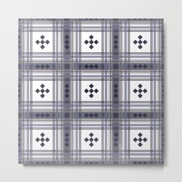 Preppy Plaid in Smokey Purple and Gray Metal Print