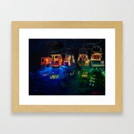 Boat Flotilla at Night at Octopus Island Framed Art Print