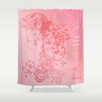 tote bag Shower Curtains featuring Fashion Female Flourish Tote Bag In Blended Pinks by Moonlake Designs