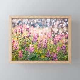 Sring nature background with green grass, flowers and bokeh Framed Mini Art Print