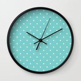 Small White Polka Dots with Aqua Background Wall Clock