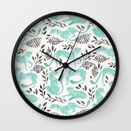 Cheetah Collection – Mint & Black Palette Wall Clock
