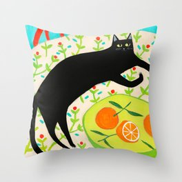 Black Cat with bowl of Oranges Throw Pillow