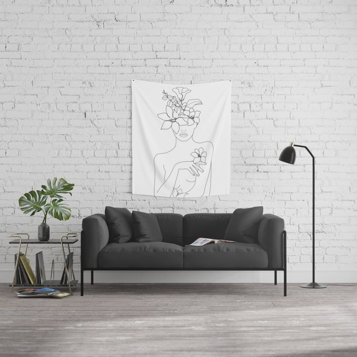 Minimal Line Art Woman with Flowers IV Wall Tapestry
