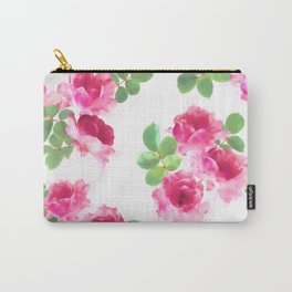 Raspberry Pink Painted Roses on White Carry-All Pouch