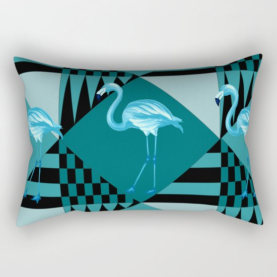flamingo in blue Rectangular Pillow