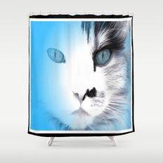 Blue Ice Feline 🐾 Framed 🐾 Shower Curtain