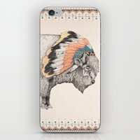 bison iPhone & iPod Skins featuring White Bison by Sandra Dieckmann